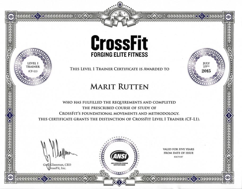 CrossFit Level 1 Trainer Certificate