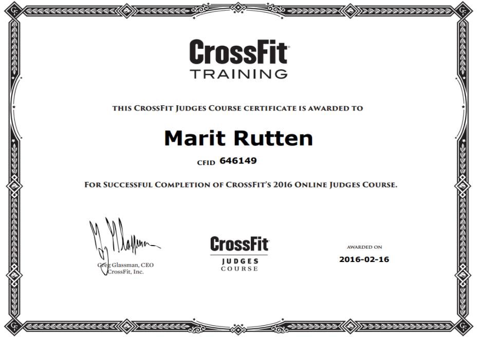 CrossFit Online Judge Course Certificate