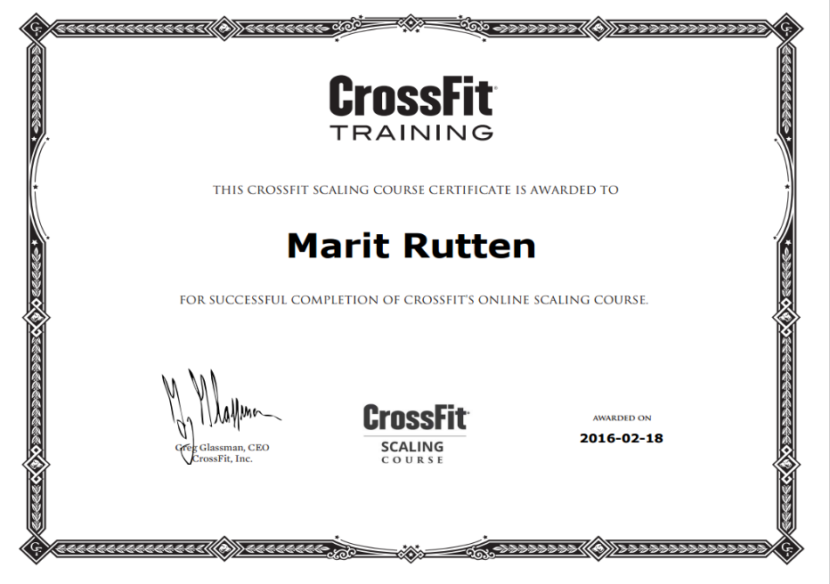 CrossFit Online Scaling Course Certificate